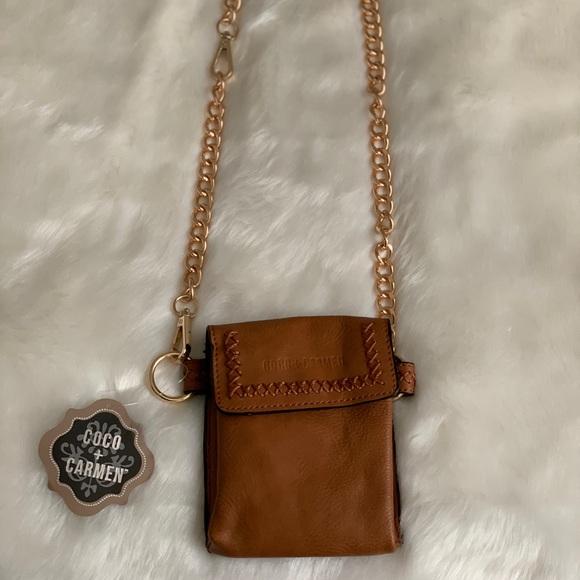 Coco + Carmen Handbags - Coco + Carmen Small Leather Brown Crossbody NWT